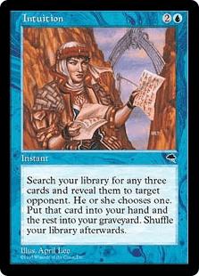 あなたのライブラリーからカードを3枚探し、それらを公開する。対戦相手1人を対象とする。そのプレイヤーはその中から1枚選ぶ。そのカードをあなたの手札に加え、残りをあなたの墓地に置く。その後あなたのライブラリーを切り直す。